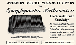 A display advertisement for the Encyclopædia Britannica from a 1913 issue of National Geographic magazine