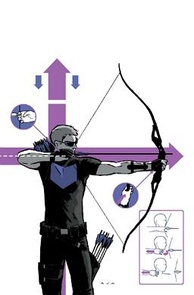 Hawkeye displaying his redesigned costume on the cover of Hawkeye Vol. 4 (2012) #2. Art by David Aja.
