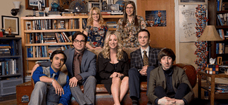 Main characters in The Big Bang Theory. First row from left: Rajesh Koothrappali, Leonard Hofstadter, Penny, Sheldon Cooper, and Howard Wolowitz, second row from left: Bernadette Rostenkowski-Wolowitz and Amy Farrah Fowler
