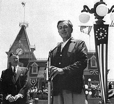 Walt Disney at the grand opening of Disneyland, July 1955.