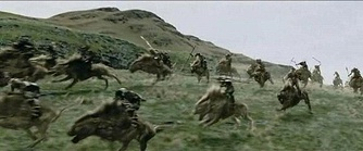 Peter Jackson's film of The Two Towers extends Tolkien's wargs for use as cavalry mounts, battling the Riders of Rohan.[11]