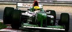 A new livery signalled a major sponsorship deal with Shannon, but did nothing to save the team from its collapse mid-season. This is Luca Badoer driving the FG03 at the 1996 Canadian Grand Prix.