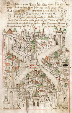 Fifteenth-century pictorial map of Bristol, radiating from the town centre