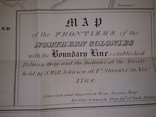 Title block of Guy Johnson's map of the Line of Property 1768