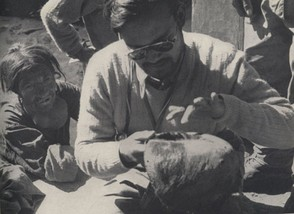 Dr. Biswamoy Biswas examining the Pangboche Yeti scalp during the Daily Mail Snowman Expedition of 1954