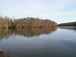 Skiffe's Creek Reservoir of the Newport News Waterworks, located at border of James City County and the City