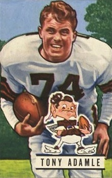A picture of Tony Adamle in uniform on a 1951 Bowman football card