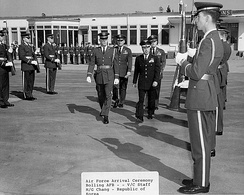 The 1100th Air Police Squadron Ceremonial Unit welcomes a foreign dignitary to Bolling AFB, Washington D.C. (circa 1960s).