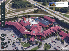 3D imagery in the iOS version of Google Earth, seen here at Wisconsin Dells, Wisconsin