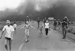 June 8, 1972: Phan Thi Kim Phuc, center left, after being burned in a napalm attack. (Nick Ut /The Associated Press)