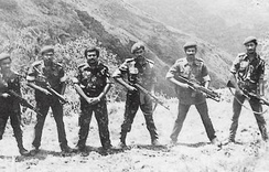 LTTE leaders at Sirumalai camp, Tamil Nadu, India in 1984 while they are being trained by RAW (from L to R, weapon carrying is included within brackets) – Lingam; Prabhakaran's bodyguard (Hungarian AK), Batticaloa commander Aruna (Beretta Model 38 SMG), LTTE founder-leader Prabhakaran (pistol), Trincomalee commander Pulendran (AK-47), Mannar commander Victor (M203) and Chief of Intelligence Pottu Amman (M 16).