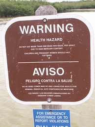 Warnings are placed in Everglades National Park to dissuade people from eating fish due to high mercury content.