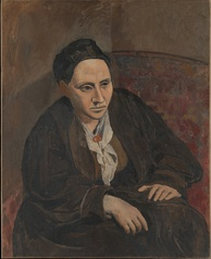 "Portrait of Gertrude Stein, 1906, Metropolitan Museum of Art, New York City. When someone commented that Stein did not look like her portrait, Picasso replied, ""She will"".[31]"