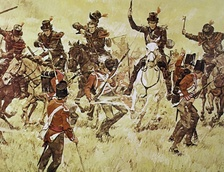 Kentucky Mounted Militia riflemen in 1813 attack British troops at the Battle of Raisin River in the War of 1812 by artist, Ken Riley