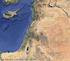 Satellite view of the Levant including Cyprus, Syria,  Israel, Jordan, Lebanon, Palestine and the Northern Sinai