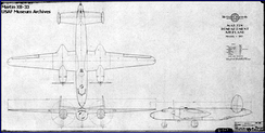 Schematic blueprint drawing of the XB-33.