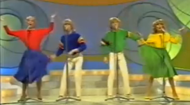 "Bucks Fizz performing ""Making Your Mind Up"""