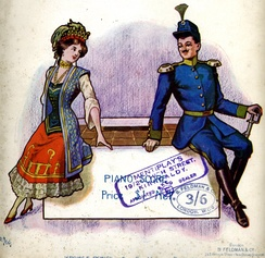 Cover of the Piano Score for the light opera The Chocolate Soldier, based on George Bernard Shaw's Arms and the Man – both of which make fun of armies and militarist virtues and present positively a deserter who runs away  from the battlefield and who carries chocolate instead of ammunition.