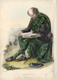 Campbell of Argyle. A romanticised Victorian-era illustration of a Clansman by R. R. McIan from The Clans of the Scottish Highlands published in 1845.