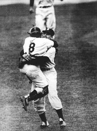 "The ""everlasting image"" of Yogi Berra leaping into Larsen's arms upon the completion of the perfect game"