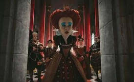 Helena Bonham Carter as the Red Queen. Bonham Carter's head was digitally increased to three times its original size in the film.