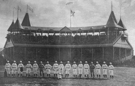 South End Grounds (1888), grandstand in background