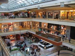 Visitors shopping on several levels at the Galleria