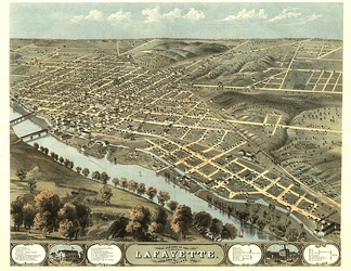 This panoramic map illustrates a bird's-eye view of Lafayette, Indiana, in 1868.