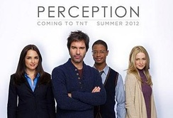 The cast of Perception: (l–r) Rachael Leigh Cook, Eric McCormack, Arjay Smith and Kelly Rowan
