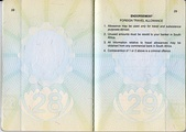 Pages 28 and 29 of a South African passport with an endorsement relating to foreign travel allowance (2007).