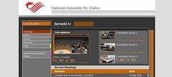 Screenshot of the front page of senedd.tv in 2009