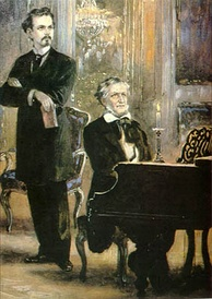 Ludwig II with Richard Wagner at the piano