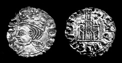 A billon coin of Alfonso XI, dated circa 1345.