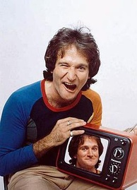 Photo of Robin Williams, as printed on the March 12, 1979, cover of Time magazine, and installed in the National Portrait Gallery to commemorate him posthumously.