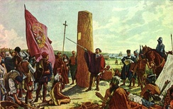 Juan de Garay founding Buenos Aires in 1580. The initial settlement, founded by Pedro de Mendoza, had been abandoned since 1542.