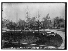 The Tea House at Kew Gardens after the arson attack by Lenton and Wharry