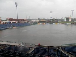 The flooded field caused by the rains of Tropical Storm Debby.