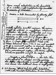 LASER notebook: First page of the notebook wherein Gordon Gould coined the LASER acronym, and described the elements for constructing the device.