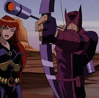 Hawkeye (right) as he appears in The Avengers: Earth's Mightiest Heroes.