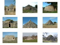 Other areas of Apulia have dry stone huts that were used as temporary shelters by peasants; the photographs show some examples of these in the National Park of Alta Murgia.