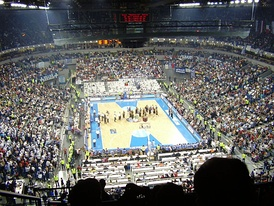 View of Belgrade Arena from the upper bowl before the start of the Greece vs. Germany final.