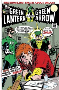Green Lantern/Green Arrow #85 (October 1971), one of the first comic stories to tackle the issue of drug use, cover art by Neal Adams.