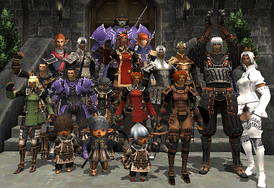 "A group photo of a ""Linkshell"" guild in the roleplaying game Final Fantasy XI."