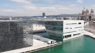 The MuCEM, Musée Regards de Provence and Villa Mediterannée, with Notre Dame de la Majeur on the right