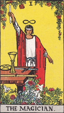 The Magician (I), an illustration from the Rider-Waite tarot deck first published in 1910