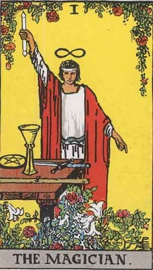 The Magician (I), an illustration from the Rider-Waite tarot deck first published in 1910.