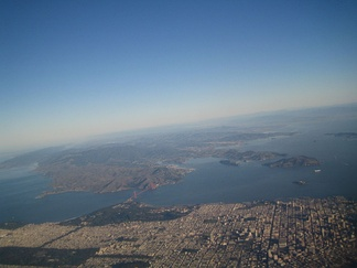 San Francisco in the foreground looking north over Marin.
