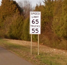 "An ""environmental"" speed limit along I-75 near Loudon, Tennessee, which was in effect between 2006 and 2018. These were enacted in some of the major metropolitan areas of Tennessee after all of Tennessee's major cities failed to meet the Environmental Protection Agency (EPA)'s guidelines for air quality."