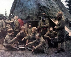 Autochrome colour picture by Jean-Baptiste Tournassoud of North-African soldiers, Oise, France, 1917.