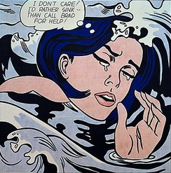 "A woman's crying face is overwhelmed by waves as she thinks, ""I don't care! I'd rather sink than call Brad for help!"""